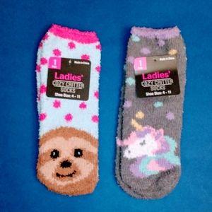 Set of 2 Women's NWT Cozy Critter Plush Socks